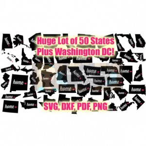 50 States Plus Wash DC Map Svg Dxf Png Pdf Zip File State Love Home Map - Commercial Use Ok - Digital File car decal - tshirt - States decal
