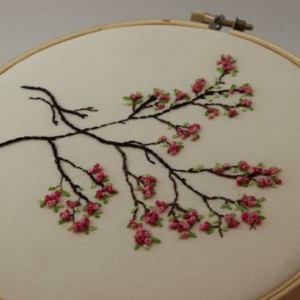 Japanese Sakura Cherry Blossoms Embroidery Hoop Art. Modern Wall Hanging. Beautiful Spring Fiber Art