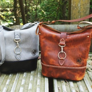 Leather Bucket Bag with Snap Closure - Handstitched Comes with Matching Mini Wallet