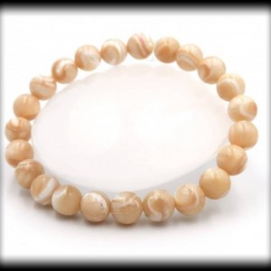 Mother of Pearl Solid Gemstone Bracelet for Wealth and Faith
