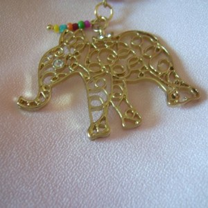 Golden Elephant Handbag Charm