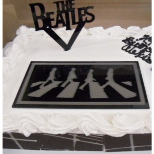 The Beatles cake topper,Abbey Road,laser cut cake top,beatles charms