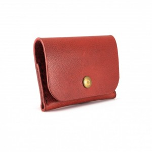 Horween Basetball Leather Snap Wallet in Red