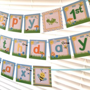Bug Happy Birthday Banner, Bug Banner, Dragonfly, Grasshopper, Bumble Bee, Ant, Worm, Caterpillar