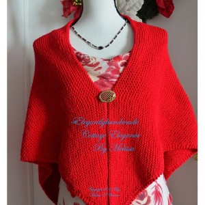 Cottage Elegance Red  Cotton Shawl Hand Knit