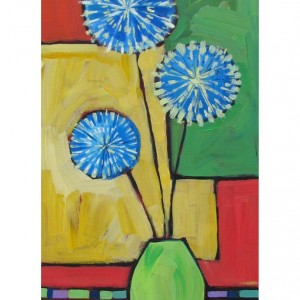 original acrylic painting - flowers painting - allium bouquet 1 - bright painting - orange-green-blue - vertical painting