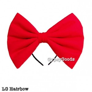 LARGE Adult Hair Bow Headband or Hair Clip Big LG Cosplay Costume Flannel Bow Red Black Pink Bright Pink Blue White Yellow Padded Bow