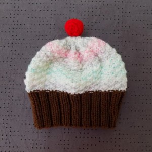 Toddler Knit Cupcake Hat - Cotton Candy