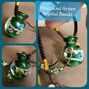 Ornate Glass Bottle on Silk Cording: includes 3 scents of your choice organic essential oils!
