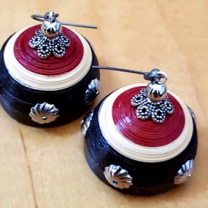 Red and Black Dome Earrings