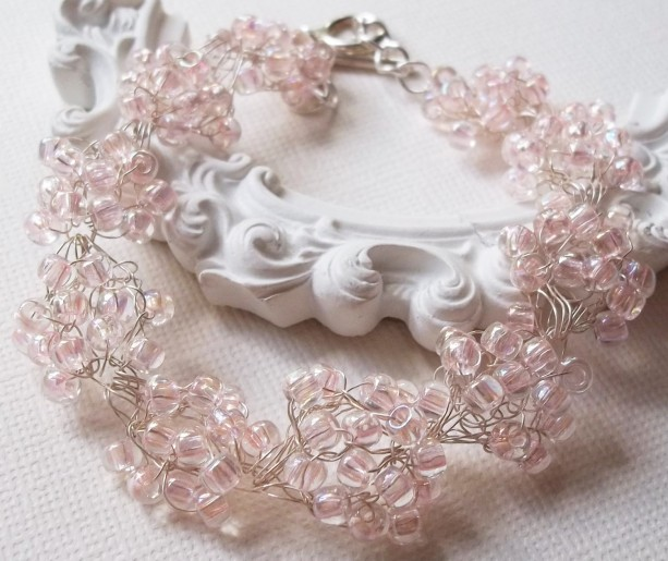 Pink Crystal Wedding Bracelet Bridesmaids Flower Girl Bridal Bracelet Seed Bead Country Woodland Pink Wedding Silver Plated Wire Crochet