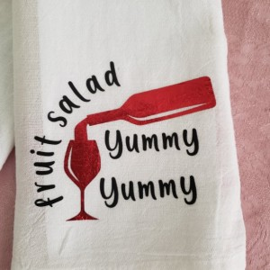 Tea towel set, flour sack towel, kitchen towel, wine towel, fruit salad yummy yummy