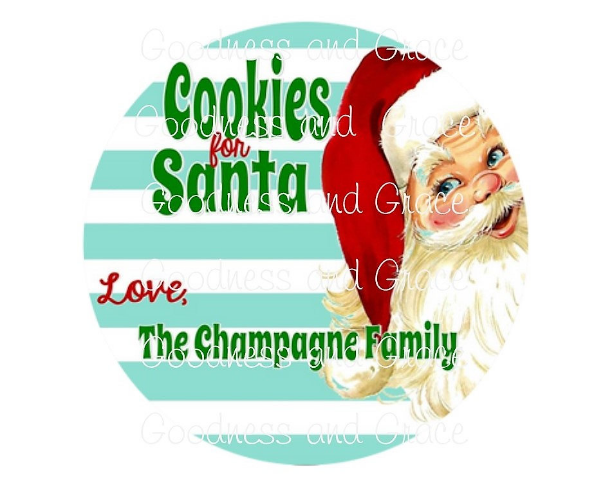 Cookies for Santa Plate Personalized in Our Fun Retro Stripes Pattern