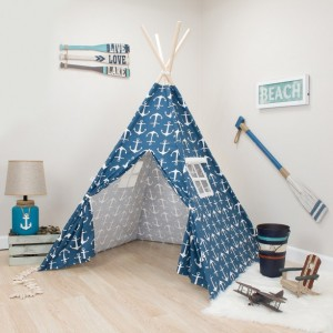 Navy with White Anchors Kids Teepee