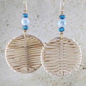 The Clarita | handmade woven rattan disc earrings, Czech glass, fire-polished beads, resort wear, vacation jewelry, Gifts for Her