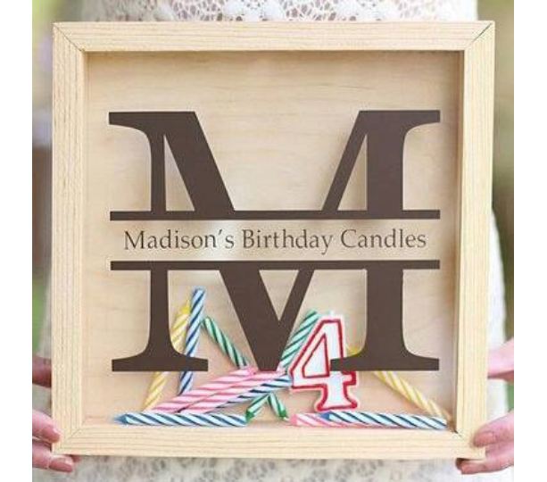 Birthday Candle Storage First Birthday Gift - Personalized, Monogrammed - DIY Shadow Box Present Girl Boy