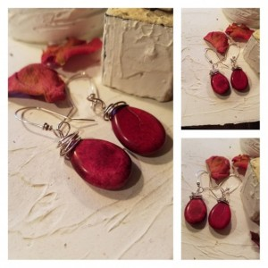Urban Rustic Natural Burgundy Red Howlite Earrings