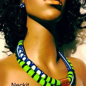 African Ankara Inspired Necklace & Earrings Blue and Green