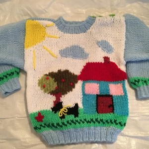 "Childs sweater-""My little world"""