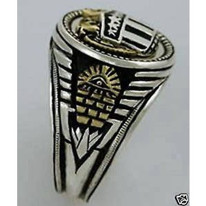 Artisan made 10 Karat Gold Double American Eagle Masonic sterling silver ring