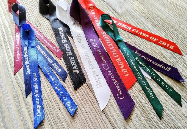 10 Graduation and School Personalized Ribbons 5/8 inches wide (unassembled)