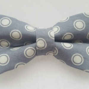 Gray white circles pet bow tie