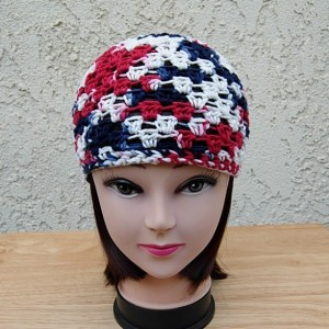 Red, White, and Blue Summer Beanie, 100% Cotton Lacy Skull Cap Women's Crochet Knit Lightweight Thin Hat, Patriotic, 4th of July, Ready to Ship in 3 Days