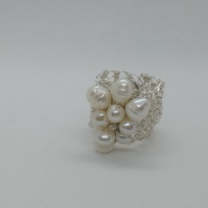 fresh water pearl ring/silver ring/handmade in usa/punto peruano/crochet wire jewelry/bridal jewelry/gift for her/special occassion gift