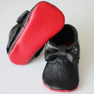 Red Bottom Louboutin Inspired Bow baby moccasins shoes