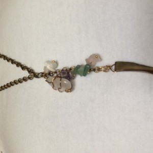 Boho Long Necklace with mother pearl claw pendant and stones charms, #N00148