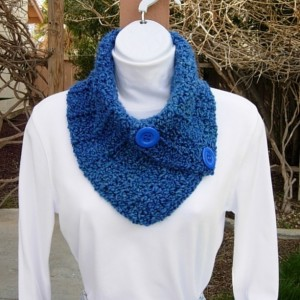 Royal Blue NECK WARMER Scarf, Women's Buttoned Cowl, Soft Acrylic Crochet Knit Winter, Two Large Vibrant Blue Buttons, Ships in 3 Biz Days