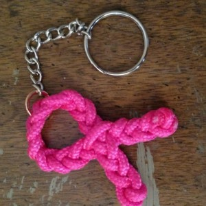 Breast Cancer Awareness Pink Ribbon Paracord Keychain