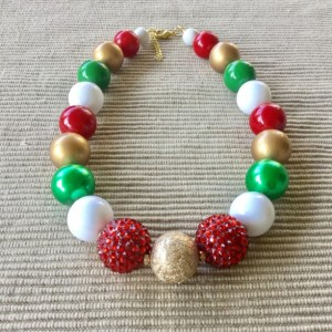 Christmas Chunky Necklace, Christmas Bubblegum Necklace, Festive Necklace, Holiday Necklace, Christmas Gumball Necklace, Holiday Jewelry
