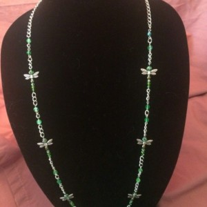 """20"""" Green Dragonfly Glass Beaded Necklace Lanyard ID Badge Silver Chain"""