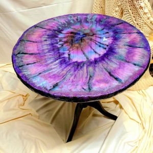 "Eco-Epoxy Resin Geode Pedastal Table ""GLITTER """