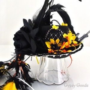 MINI Top HAT Boho Flower Child Black Felt hat,  Yellow or Red flowers, feathers, beads, Adult mini hat, Hippie, Bohemian, festival