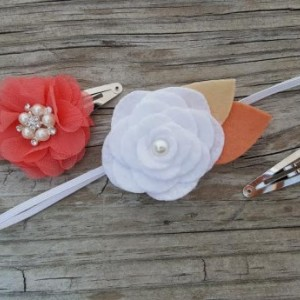 Set of 3 - Autumn White Wool Felt Flower Headband, Coral Snap Clip, Pearl Snap Clip