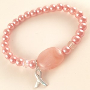 Breast Cancer pink pearl & stone bracelet
