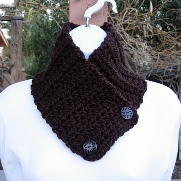 Women's Solid Dark Espresso Brown NECK WARMER SCARF with Wood Buttons, Soft 100% Acrylic Crochet Knit Small Buttoned Cowl, Ready to Ship in 3 Days