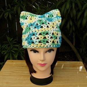 Women's Earth Day Pussy Cat Hat Green Blue Yellow White PussyHat Summer 100% Cotton Lightweight Women's Crochet Knit Beanie, Ready to Ship in 3 Days