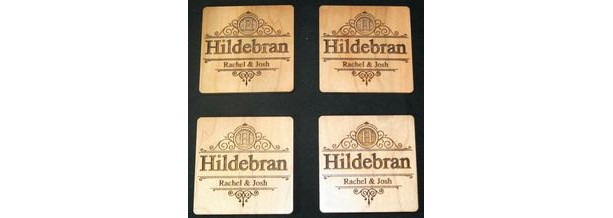Custom Engraved Coasters Wood Set of (6) Personalized