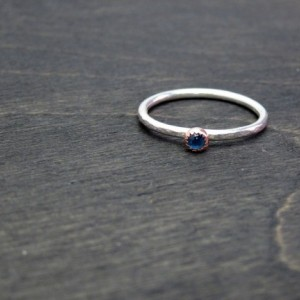 Size 7.5 Ready to Ship Recycled 14k Rose Gold & Sterling Silver Dapple Hammered 3mm Blue Sapphire Alternative Engagement Ring 1.5mm band