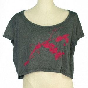 Heather Black Bird, Plum Blossoms Loose Crop Tee, Screen Printed, Japanese Ume, Eco-Friendly, Dancewear, Activewear, Made in USA