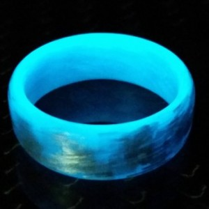 Men's or Women's Texalium Blue Glow Ring - Handcrafted - Glowing Interior and Exterior - Custom Band widths