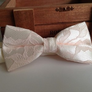 Light Pink/Blush Fairy Tale - Pink lace and Ivory Bow Tie - Kid's Pink Bow Tie - Adult Pink Bow Tie - Lace Bow Tie - Ivory and Pink Bow Tie