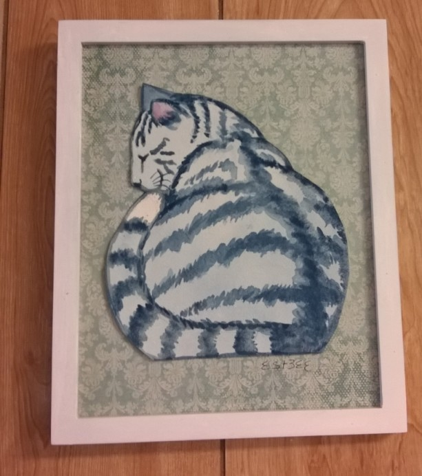 GRAY TABBY CAT - watercolor collage art -