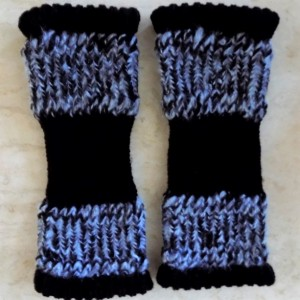 Black & Light Blue Baby & Toddler Knit Leg Warmers