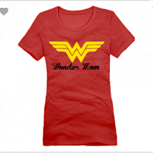Wonder Mom Logo XS To XL District Brand Crew T-shirt For Women In Red With Yellow & Black Ink
