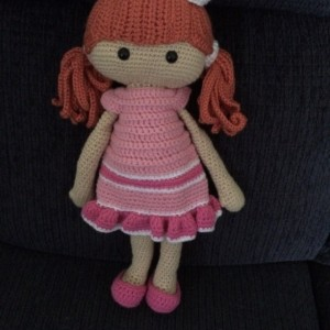 Hand crocheted Nicole Doll - Dress and undress doll.  Red Hair - Pink/Rose/White Dress