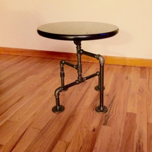 Industrial Black Pipe Table, End Table, Man Cave Table, Bar Table, Steampunk, One of Kind